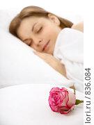 Купить «Спящая девушка и роза», фото № 836084, снято 1 апреля 2009 г. (c) Raev Denis / Фотобанк Лори