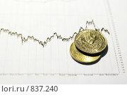 Монеты на биржевом графике. Стоковое фото, фотограф Вячеслав Зитев / Фотобанк Лори