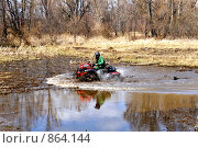 Купить «Квадроцикл пересекает болото», фото № 864144, снято 25 апреля 2009 г. (c) Андрияшкин Александр / Фотобанк Лори