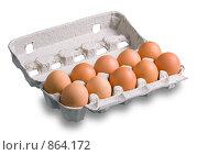 Купить «Десяток куриных яиц», фото № 864172, снято 28 апреля 2009 г. (c) Сергей Лаврентьев / Фотобанк Лори