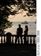 Купить «Очаровательная пара на фоне закатного моря», фото № 880988, снято 2 июня 2007 г. (c) Михаил Лукьянов / Фотобанк Лори