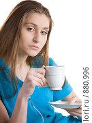 Купить «Девушка с чашечкой кофе», фото № 880996, снято 26 марта 2009 г. (c) Кувшинников Павел / Фотобанк Лори