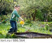 Купить «Мальчик с лейкой», эксклюзивное фото № 886564, снято 18 мая 2009 г. (c) Алина Голышева / Фотобанк Лори