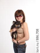 Купить «Девушка с собачкой», фото № 886708, снято 3 мая 2009 г. (c) Евгений Батраков / Фотобанк Лори