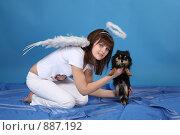Купить «Девушка-ангел с собачкой на голубом фоне», фото № 887192, снято 3 мая 2009 г. (c) Евгений Батраков / Фотобанк Лори