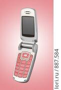 Купить «Гламурный мобильный телефон с темным экраном на розовом фоне», фото № 887584, снято 23 января 2009 г. (c) Самохвалов Артем / Фотобанк Лори
