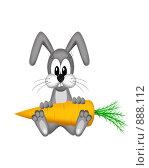 Купить «Иллюстрация, зайчик с морковкой», иллюстрация № 888112 (c) Александр Черезов / Фотобанк Лори