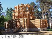 Купить «Строительство деревянной церкви в Подмосковье», фото № 894308, снято 31 мая 2009 г. (c) Владимир Сергеев / Фотобанк Лори
