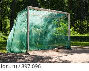 Купить «Футбольные ворота и футбольный мяч в лесу», фото № 897096, снято 1 июня 2009 г. (c) Сергей Чистяков / Фотобанк Лори
