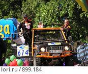 """Купить «Трофи-рейд """"Ладога-2009"""", представление экипажа 614, автомобиль Сузуки», фото № 899184, снято 30 мая 2009 г. (c) Андреев Александр / Фотобанк Лори"""