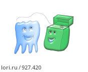 Купить «Зубная нить», иллюстрация № 927420 (c) Анна Боровикова / Фотобанк Лори