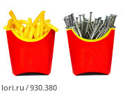 Купить «Картошка фри и гвозди», фото № 930380, снято 5 мая 2009 г. (c) Андрей Армягов / Фотобанк Лори