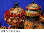Купить «Сувениры в стиле хохлома на синем фоне», фото № 932320, снято 20 июня 2009 г. (c) Gagara / Фотобанк Лори