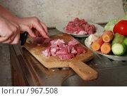 Купить «Нарезаем мясо», фото № 967508, снято 7 июля 2009 г. (c) Андрей Багаев / Фотобанк Лори