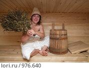 Купить «Девушка в бане», фото № 976640, снято 28 июня 2009 г. (c) Яков Филимонов / Фотобанк Лори
