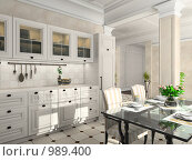 Купить «Интерьер кухни в классическом стиле. 3d-рендер», иллюстрация № 989400 (c) Майер Георгий Владимирович / Фотобанк Лори