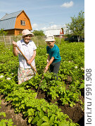 Купить «Ребенок помогает бабушке на даче», фото № 991908, снято 13 июля 2009 г. (c) Куликова Татьяна / Фотобанк Лори