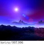 Купить «Фантастический 3d пейзаж. Ночь. туман», иллюстрация № 997996 (c) ElenArt / Фотобанк Лори