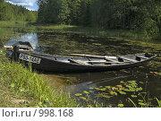 Купить «Лодка у берега лесного озера», фото № 998168, снято 19 июля 2009 г. (c) Елена Прокопова / Фотобанк Лори