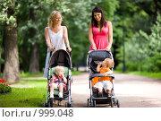 Купить «Счастливые мамы с колясками», фото № 999048, снято 24 июля 2009 г. (c) Ольга Сапегина / Фотобанк Лори