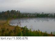 Туманный берег озера в лесу. Стоковое фото, фотограф Кекяляйнен Андрей / Фотобанк Лори