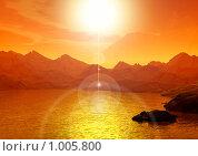 Купить «Рассвет на море. Фантастический 3d пейзаж», иллюстрация № 1005800 (c) ElenArt / Фотобанк Лори
