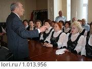 Купить «Репетиция хора ветеранов», фото № 1013956, снято 9 апреля 2009 г. (c) Евгений Батраков / Фотобанк Лори