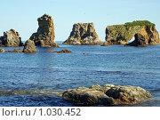 Купить «Каскад удивительных скал на мысе Великан, южный Сахалин, побережье Охотского моря», фото № 1030452, снято 8 августа 2009 г. (c) RedTC / Фотобанк Лори