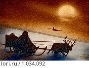 Самолётом хорошо, а на оленях лучше. Стоковая иллюстрация, иллюстратор Николай Шаламов / Фотобанк Лори