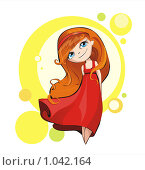 Девочка в красном платье. Стоковая иллюстрация, иллюстратор Ветрова Татьяна / Фотобанк Лори