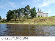 Вид на Ферапонтов монастырь с Бородаевского озера (2009 год). Редакционное фото, фотограф Винокуров Евгений / Фотобанк Лори