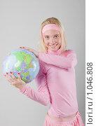 Девушка с глобусом в руках. Стоковое фото, фотограф Леонид Козлов / Фотобанк Лори