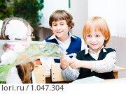 Купить «Ученики начальной школы», фото № 1047304, снято 20 августа 2009 г. (c) Евгений Захаров / Фотобанк Лори