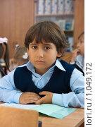 Купить «Первоклассник на уроке», фото № 1049172, снято 20 августа 2009 г. (c) Оксана Гильман / Фотобанк Лори