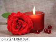 Свеча и роза. Стоковое фото, фотограф Наталья Бидюкова / Фотобанк Лори