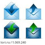 Купить «Четыре иконки с конвертиками», иллюстрация № 1069240 (c) Сергей Королько / Фотобанк Лори