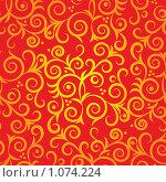 Золотой абстрактный рисунок на красном фоне. Стоковая иллюстрация, иллюстратор Наталия Жильцова / Фотобанк Лори