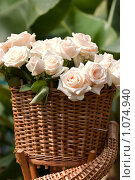 Купить «Розы в корзине», фото № 1074940, снято 22 августа 2004 г. (c) Кравецкий Геннадий / Фотобанк Лори