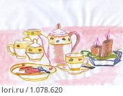 Купить «Чаепитие, рисунок», иллюстрация № 1078620 (c) Ольга Лерх Olga Lerkh / Фотобанк Лори