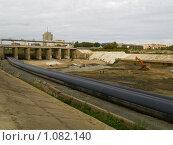 Купить «Реконструкция дамбы на реке Тобол», фото № 1082140, снято 5 сентября 2009 г. (c) Andrey M / Фотобанк Лори