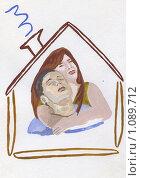 Купить «Пара мечтает о доме. рисунок», иллюстрация № 1089712 (c) Ольга Лерх Olga Lerkh / Фотобанк Лори