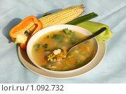 Суп из кукурузы, сладкого перца и курицы. Стоковое фото, фотограф Наталия Шевченко / Фотобанк Лори