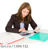 Купить «Деловая женщина с калькулятором», фото № 1094132, снято 13 сентября 2009 г. (c) паша семенов / Фотобанк Лори