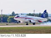 Купить «МАКС-2009. Sukhoi Superjet 100, посадка», эксклюзивное фото № 1103828, снято 22 августа 2009 г. (c) Alexei Tavix / Фотобанк Лори