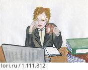Купить «Офисный сотрудник. рисунок», иллюстрация № 1111812 (c) Ольга Лерх Olga Lerkh / Фотобанк Лори