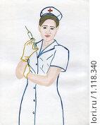 Купить «Медсестра, рисунок», иллюстрация № 1118340 (c) Ольга Лерх Olga Lerkh / Фотобанк Лори