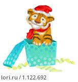 Купить «Тигренок, символ 2010 года вылазит из подарочной коробки на белом фоне», иллюстрация № 1122692 (c) Олеся Сарычева / Фотобанк Лори