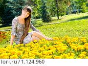 Купить «Красивая девушка на природе», фото № 1124960, снято 13 августа 2009 г. (c) Алексей Многосмыслов / Фотобанк Лори