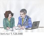 Купить «Подписание договора. рисунок», иллюстрация № 1126848 (c) Ольга Лерх Olga Lerkh / Фотобанк Лори