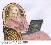 Купить «Домашний интернет. рисунок», иллюстрация № 1126980 (c) Ольга Лерх Olga Lerkh / Фотобанк Лори